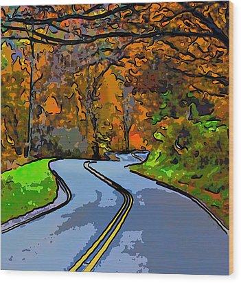 West Virginia Curves 2 Line Art Wood Print by Steve Harrington