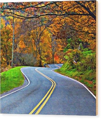 West Virginia Curves 2 Oil Wood Print by Steve Harrington