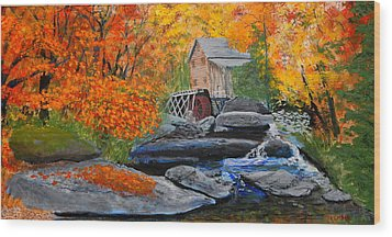 West Virginia Grist Mill Wood Print by William Tremble