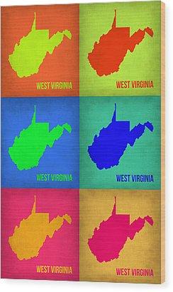 West Virginia Pop Art Map 1 Wood Print by Naxart Studio