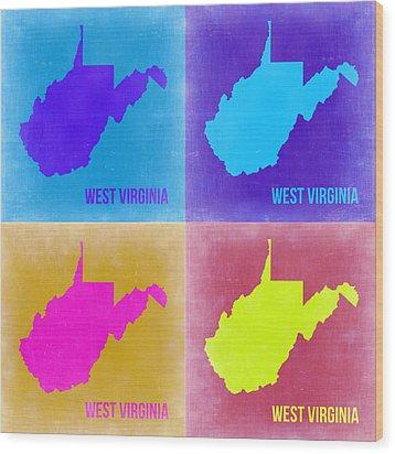 West Virginia Pop Art Map 2 Wood Print by Naxart Studio
