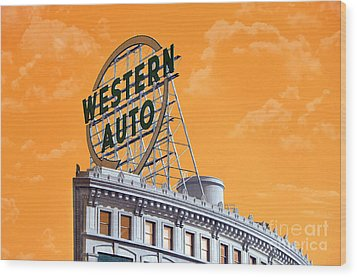 Western Auto Sign Artistic Sky Wood Print by Andee Design