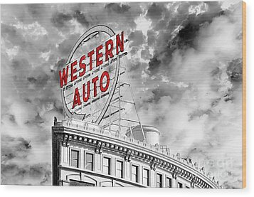 Western Auto Sign Downtown Kansas City B W Wood Print by Andee Design