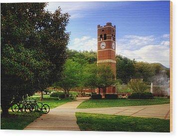 Western Carolina University Alumni Tower Wood Print by Greg and Chrystal Mimbs