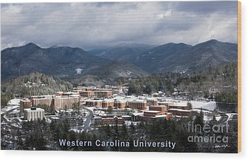 Western Carolina University Winter  Wood Print