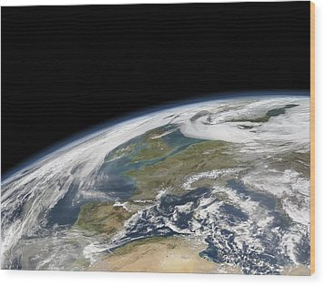 Western Europe, Satellite Image Wood Print by Science Photo Library
