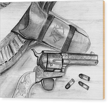 Wood Print featuring the drawing Western Guns by Michele Engling