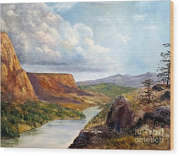 Western River Canyon Wood Print by Lee Piper