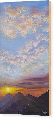 Wood Print featuring the painting Western Sunset by Margaret Bobb
