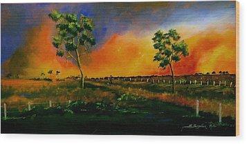 Western Sunset Wood Print by Sandra Sengstock-Miller