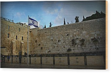Western Wall And Israeli Flag Wood Print by Stephen Stookey
