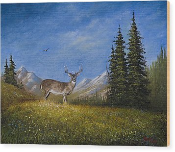 Western Whitetail Wood Print by C Steele