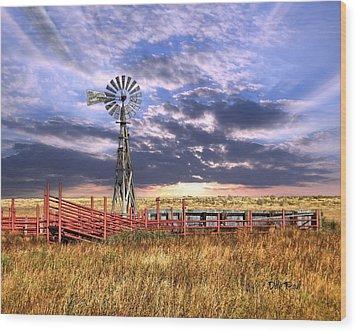Western Windmill Wood Print