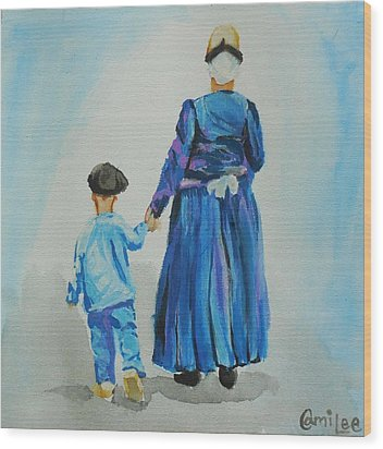 Westfriese Woman And Boy Wood Print