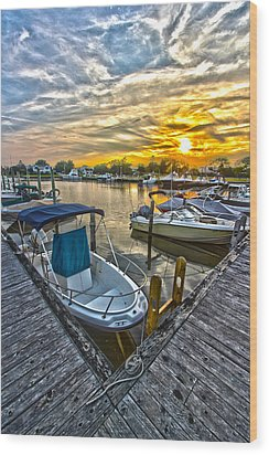 Westhampton Beach Marina Sunset Wood Print