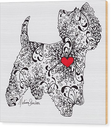 Wood Print featuring the drawing Westie by Melissa Sherbon