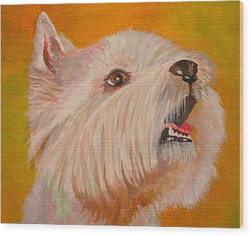Westie Portrait Wood Print by Tracey Harrington-Simpson
