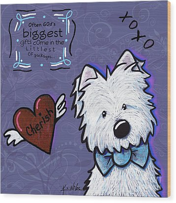 Westie Wall Wood Print by Kim Niles