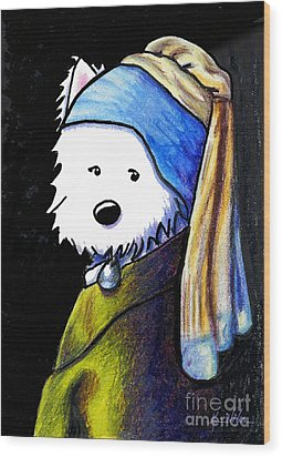 Westie With Pearl Earring Wood Print by Kim Niles