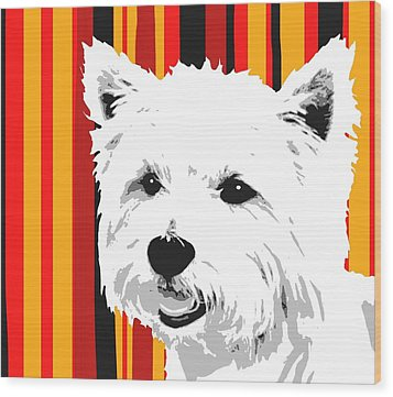 Westie With Stripes Wood Print by Cindy Edwards
