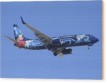 Westjet 737-8ct C-gwsz Magic Plane Phoenix Sky Harbor February 8 2015 Wood Print by Brian Lockett