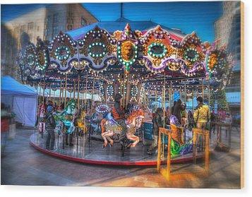 Westlake Carousel Wood Print by Spencer McDonald