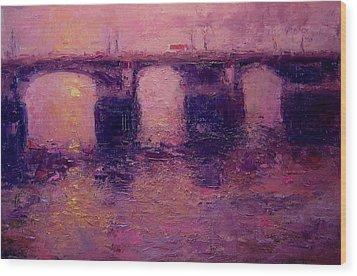 Westminster Bridge In Winter Light Wood Print by R W Goetting