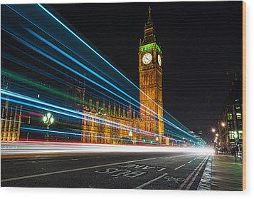Westminster Light Trails Wood Print by Matt Malloy