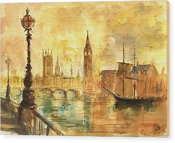 Westminster Palace London Thames Wood Print by Juan  Bosco