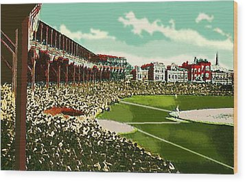 Westside Park Baseball Stadium In Chicago Il In 1914 Wood Print by Dwight Goss