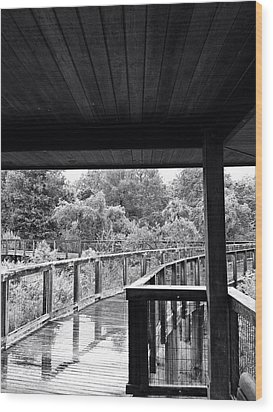 Boardwalk In Black And White 4 Wood Print
