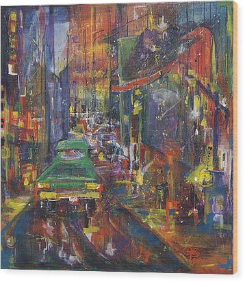 Wet China Lights Wood Print by Leela Payne