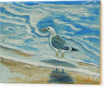 Wood Print featuring the painting Wet Feet - Shore Bird by Shelia Kempf