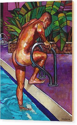 Wet From The Pool Wood Print by Douglas Simonson