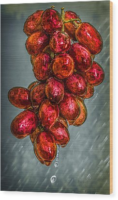 Wet Grapes Four Wood Print by Bob Orsillo