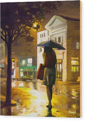 Wood Print featuring the painting Wet Night by Anthony Mwangi
