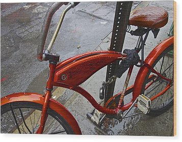 Wet Orange Bike   Nyc Wood Print