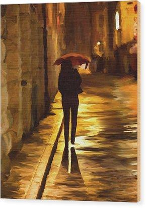 Wet Rainy Night Wood Print