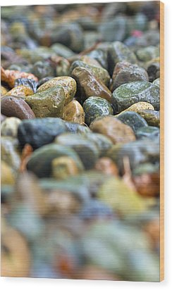 Wet River Rock Wood Print