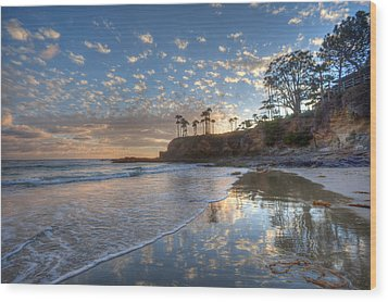 Wet Sand Reflections Laguna Beach Wood Print