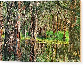 Wetland Reflections Wood Print by Wallaroo Images