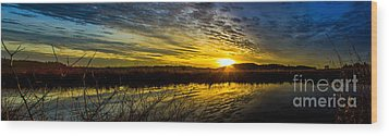 Wetlands Sunset Wood Print