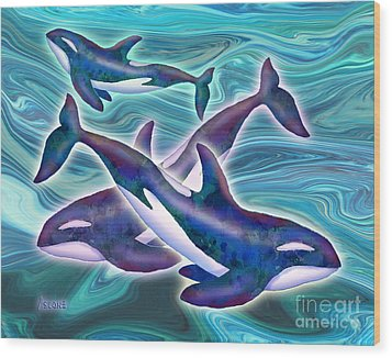 Wood Print featuring the mixed media Whale Whimsey by Teresa Ascone