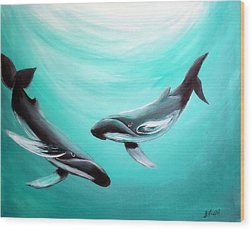 Wood Print featuring the painting Whales by Bernadette Krupa