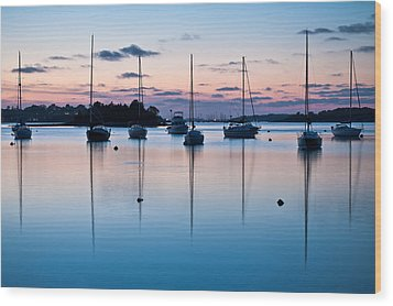 Wharf Blue Hour Wood Print by Lee Costa