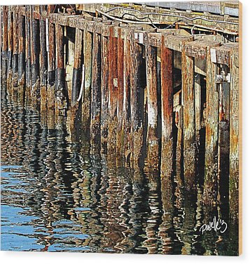 Wharf Reflections Wood Print