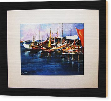 Wood Print featuring the painting Wharf Scene by Al Brown