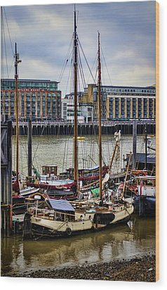 Wharf Ships Wood Print by Heather Applegate