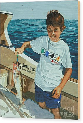What A Catch Wood Print by Barbara Jewell