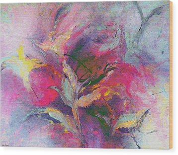 Wood Print featuring the painting What Do You See by Lisa Kaiser